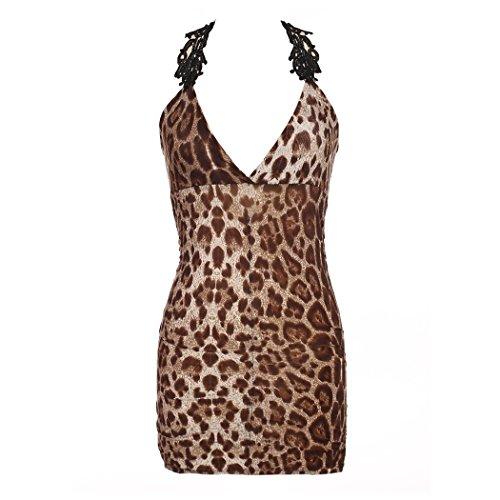 Dessous Set Unterwäsche,Sondereu Reizwäsche Leopard Print Erotik Ärmellos Lace Babydoll Negligee Nachtkleid Lingerie Nachtwäsche Nightwear Clubwear Mini Dress Mit G String Leopard