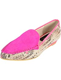 Smitten Formals & Lace-Up Flats For Women ( Neon Pink )