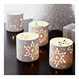 The Purple Tree Snowflake Christmas Tealight Holder - 1 pc (White), Snowflake tealight Holder, Christmas tealights, Christmas Lights