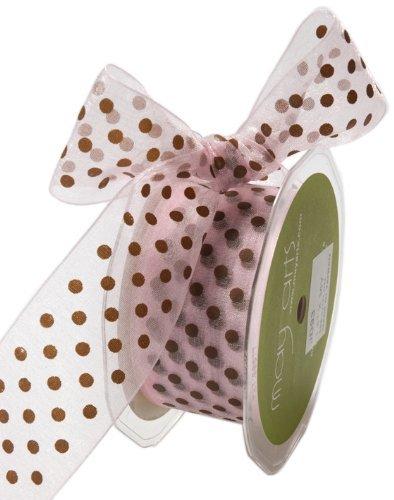 May Arts 3/8-Inch Wide Ribbon, Pink and Brown Sheer Polka Dot by May Arts -