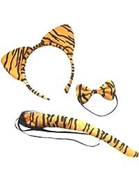 DangerousFX Orange Black Stripe Tiger Wild Animal Cat Ears Band Bow Tail Fancy Dress Up Set