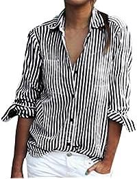 9687e8799498e OHQ Camisa De Manga Larga con Estampado De Rayas De Las SeñOras Blusa  Suelta De Manga Larga A Rayas De Moda Casual Camiseta Tops Gris…