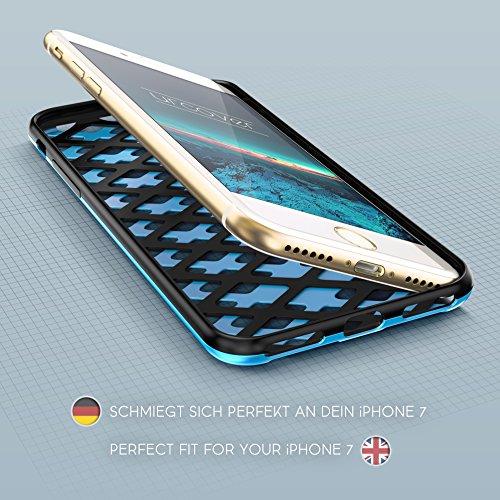 Urcover® Apple iPhone SE / 5 / 5s Hülle Mesh Case 2-teilig aus PC & TPU in Weiß / Rot Dual Layer Zubehör Tasche Back-Case Handy-Hülle Cover Schutz-Hülle Schale Schwarz / Blau