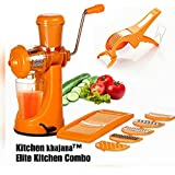 Kitchen Khajana™ Elite Plastic Manual Citrus Juicer Set, Set Of 3, Orange
