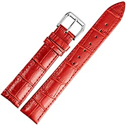 14mm red leather watch band straps replacement for women genuine calfskin alligator grain