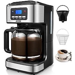 Cafetière Electrique à Filtre, Cafetière Programmable 12 tasses avec Carafe en Verre, Système Anti-Gouttes, Sans BPA, 900W, Noir