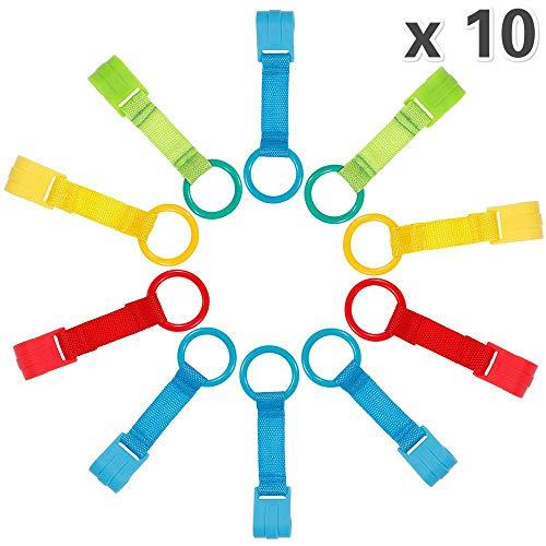 Rovtop Pack de 10 Anillas Para Cunas y Parques -Ayuda a su Bebe a Ponerse de Pie Facilmente(Azul×4, amarillo×2, verde×2, rojo×2)