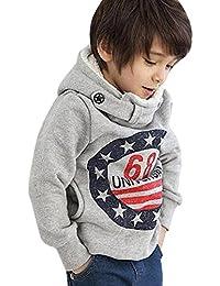 Kukul Niño Sudaderas con Capucha de Algodon Suéter Grueso Camiseta Camisa Blusa de Manga Larga Tops Casual Sencillo Basico de Otoño Invierno para bebé-niños 3-7años