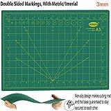 TTMOW Base di Taglio A3 45 x 30 cm con Stencil Molteplici Professionale Tappetino da Taglio PVC – Double-Face Superficie Verde Autopulente