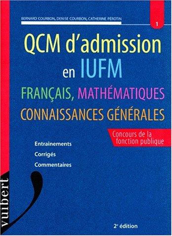 Le QCM d'admission en IUFM