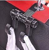 #6: ACUTAS Multipurpose Car Hanger Bags Organizer Car Double Hook Headrest Luggage Holder (Black)
