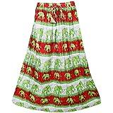 Mogul Interior Womens Retro Skirts Printed A-Line Flirty Bohemian Long Skirt (Green)