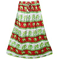 Mogul Interior Womens Retro Skirts Printed A-Line Flirty Bohemian Long Skirt (Green)