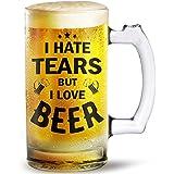 I Hate Tears But I Love Beer Printed Beer Mug 500ml Beast Gift For Husband And Aniversry