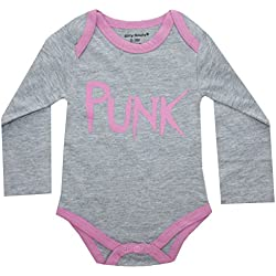 PUNK Infant Baby Girl Onesie Pink and Grey 12-18 Months