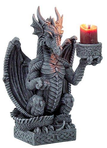 Drache hält Kerze - Gothic Deko - Drachen Kerzenhalter