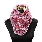 Amphia - Nachgemachtes Kaninchen DREI-Rohr Lätzchen,Art- und Weisefrauen-Normallack-Schal-Kunstpelz-Hals halten warme Schals-Winter-Geschenke(WeinRot)