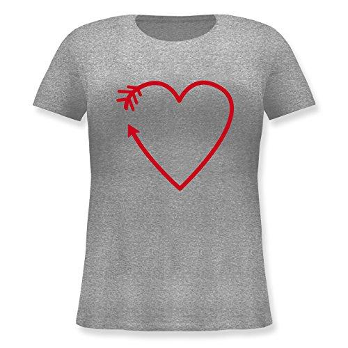 Romantisch - Herz Pfeil - Lockeres Damen-Shirt in großen Größen mit Rundhalsausschnitt Grau Meliert