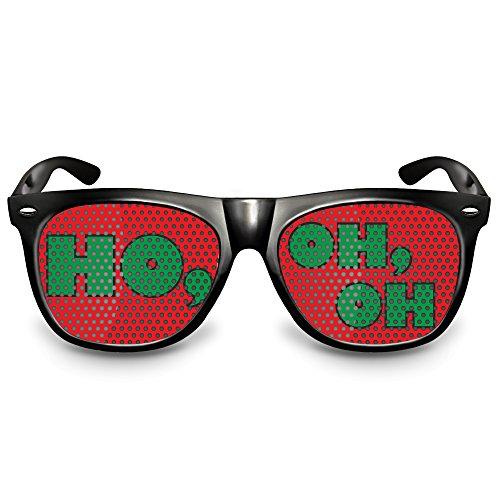 COOLEARTIKEL Partybrille / Spassbrille für Weihnachten, lustige Accessoire Idee für die Weihnachtfeier oder Christmas Party, Atzen-brille mit X-MAS Motiv (Nerd schwarz, HO, OH, OH)