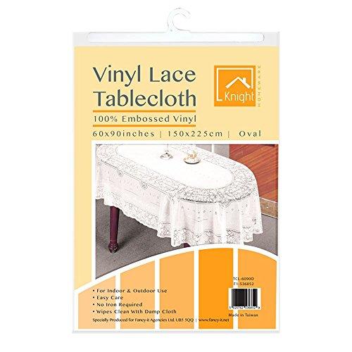 """Vinyl Lace Tischdecke Esstisch, weiß eckig rund oval Rechteck geprägt abwischbar Home Decor Abdeckung Displayschutzfolie Woven, Vinyl, weiß, 90x60\"""" Oval Lace"""