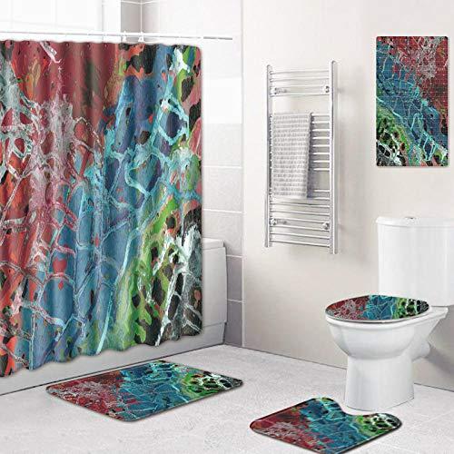WOSBE wc Teppich Set,5-Teiliges Abstract patternBadezimmer Anti-Rutsch-WC-Vorleger Deckel WC-Abdeckung Badematte Duschvorhang mit 12 Haken 45 * 75cm @F -