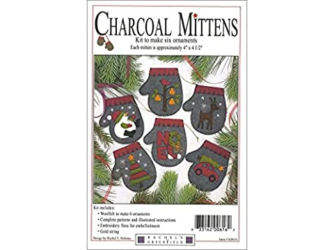 Rachel 's of Greenfield anthrazit Fäustlinge 10,2x 11,4cm Filz Applikation Weihnachten Ornament Kit (Set of 6) anthrazit K0616