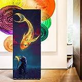 JY ART Réfrigérateur Papier Décoration Bricolage Cat's Wish 3D Étanche Réfrigérateur Autocollants Cuisine Stickers Muraux, 60 * 180cm