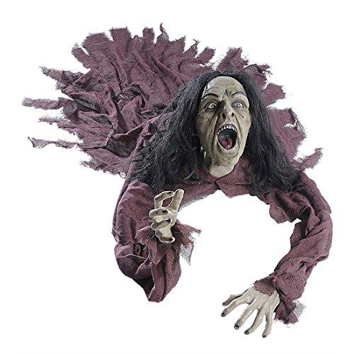 NET TOYS Zombie Figur mit Leuchtaugen und Sound Untoter Dekoration 140 cm Zombiepuppe Zombie Puppe Halloween Deko Figur (Zombie Halloween Für Dekoration)