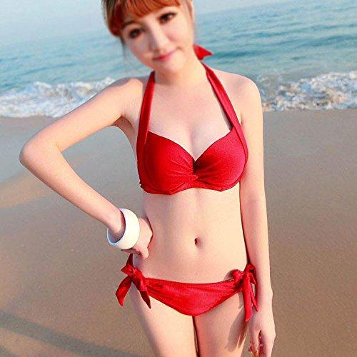 Buluke Weibliche Mode Neckholder Triangel Bikini Set Red