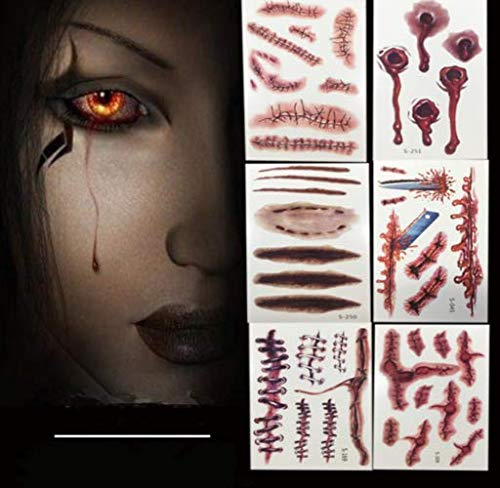 5pcs halloween horror tattoo adesivi cicatrici/ferita/scab/blood tatuaggi cosplay pelle