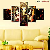 "WallMantra Sri Ganesha Indian Hindu Spiritual Painting / 5 Pieces Canvas Print Wall Hanging/Stretched and Framed on Wood / 44"" W x 24"" H/Home Decor for Living Room, Bedroom, Office Decoration"
