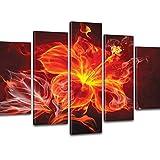 Goods & Gadgets GmbH Kreativer Kunstdruck XXL - Rote Feuer Rose 170x100cm; 5 teilige Feuerblume auf Canvas Leinwand - Bilder fertig auf Keilrahmen