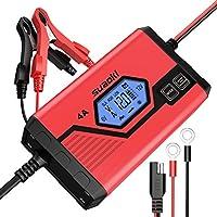 SUAOKI 4A Batterie Ladegerät 6/12V, Batterieladegerät Erhaltungsladegerät 8 Schritt Vollautomatisches Kraftpaket Batterieladegerät für KFZ PKW Auto Motorrad