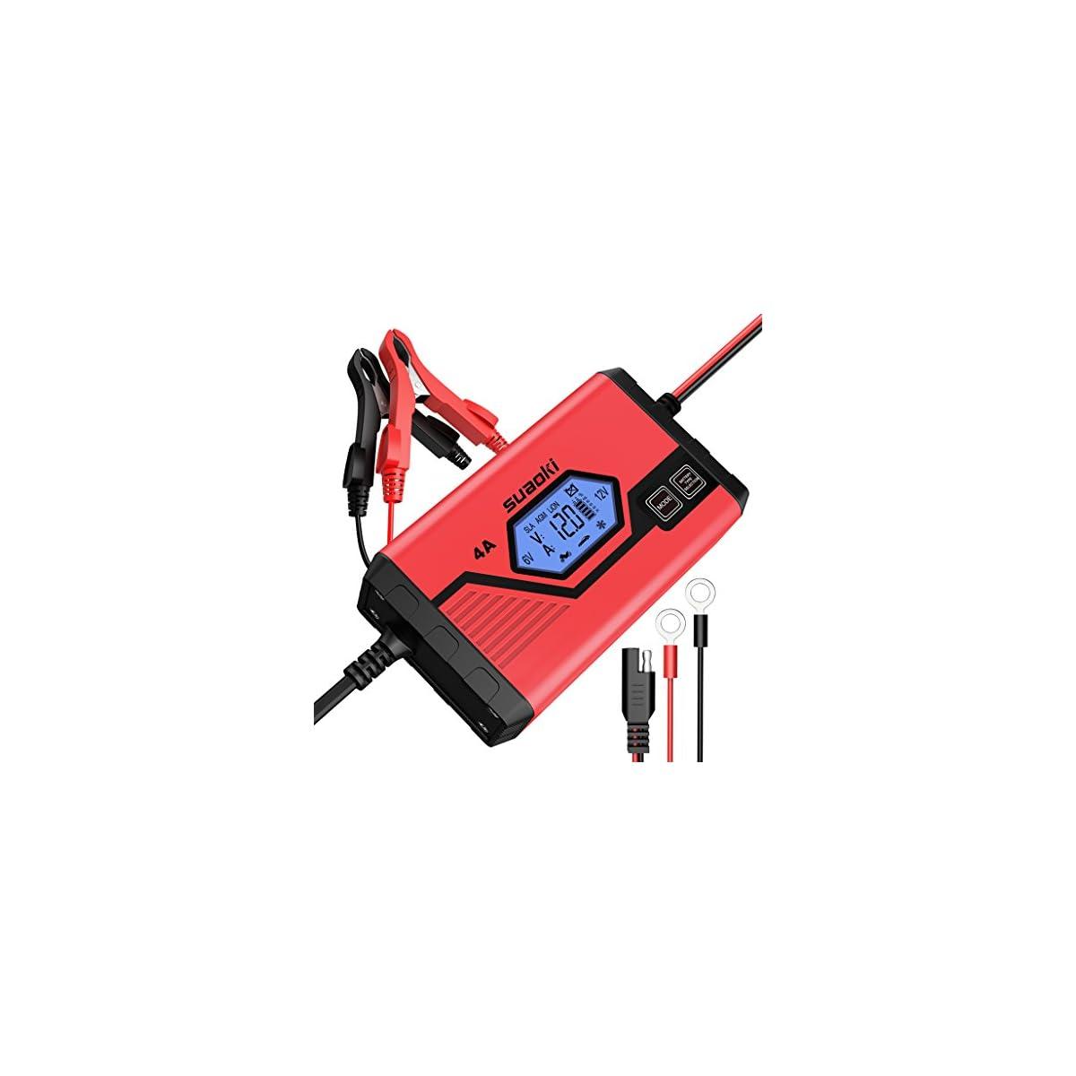 51D6QZPbwyL. SS1200  - SUAOKI - Cargador de Baterias Coche, Moto, 4A, 6/12V, Mantenimiento Automático e Inteligente, 8 Cargas Etapas Identificación, Carga Segmentada con Múltiples Protecciones Para Coche, Camión, Moto