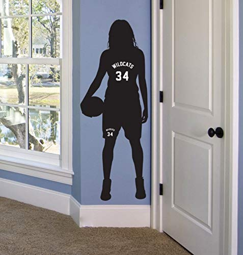 jiuyaomai Basketball Mädchen Personalisierte Name Nummer Wandtattoo Abnehmbare Benutzerdefinierte Basketball Team Name Wandaufkleber Für Kinderzimmer 42x116 cm