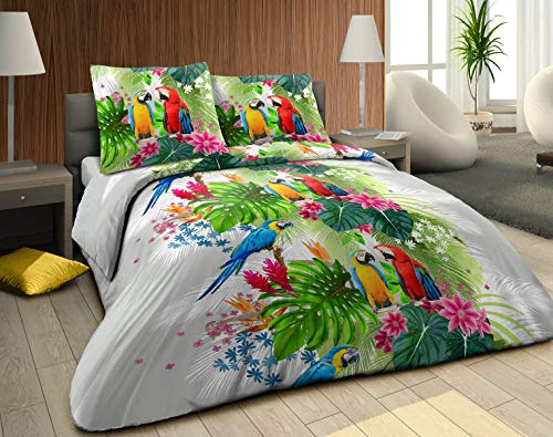 bng Parure de lit 3 pièces Housse de Couette 240x220 cm 2 taies d'oreiller 63x63 cm placées Assorties Perroquet Amazonie