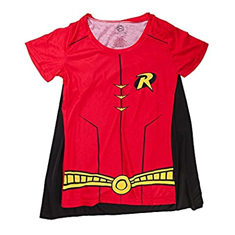 Red Robin Costume Dc - DC Comics Robin Sublimated Costume Juniors Red
