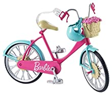 Barbie Bicicletta per Bambole con Casco e Accessori, Multicolore, Giocattolo per Bambini 3 + Anni, DVX55