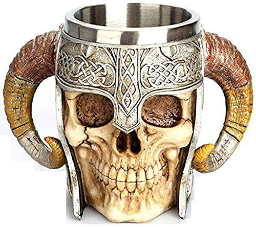 Calavera mug with elmetto - Warrior - Handles - Horn - Cranium - Skeleton - 3D - Stainless Steel - Resin - Beer Mug - Horror - Gothic - Gift Idea - Drinks - Viking - Medieval - Halloween