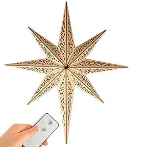 Led stern aus holz mit 10 leds beleuchtet mit fernbedienung kabellos 52 cm - Weihnachtsbeleuchtung fenster kabellos ...