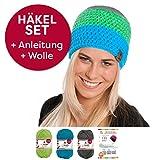 Dreifarbige Häkel-Mütze Ikoma im Häkel-Set von myboshi mit 3X 50g myboshi Wolle No.1 + Häkel-Anleitung + Selfmade Label in Farben (anthrazit, Apfel, türkis, ohne Häkelnadel)