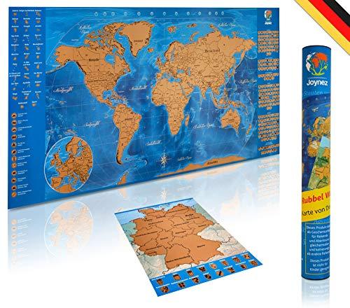 Joynez Weltkarte Zum Rubbeln in Deutsch + A4 Rubbelkarte Deutschland | XXL Landkarte Zum Freirubbeln (Poster 85 X 42cm. inkl. Geschenk-Verpackung)