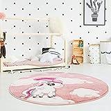 carpet city Kinderteppich Flachflor Hochwertig Bueno mit Konturenschnitt, Glanzgarn mit Einhorn, Sterne, Regenbogen in Rosa für Kinderzimmer, Größe: 160x160 cm Rund