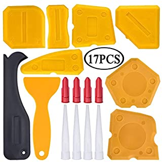 17 Pieces Caulking Tool Kit Silicone Sealant Finishing Tool Grout Scraper Caulk Remover and Caulk Nozzle and Caulk Caps (Yellow)