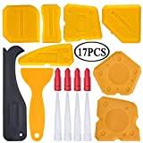 Kit de herramientas para calafatear, 17 piezas, sellador de silicona, herramienta de acabado, rascador de lechada y boquilla de calavera y tapas de calavera (amarillo)