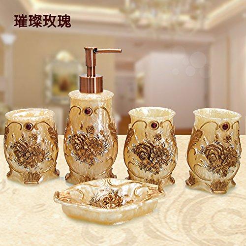 HJKY accessoires badezimmer Badewanne 5 Stück kreative Hochzeit Vanity Badezimmer suite Bürsten cup Luxus Toilettenartikel spülen Cup Kit Set, glitzernde Rose 5 PC AIR KIT (Badezimmer-zubehör-kit-bronze)