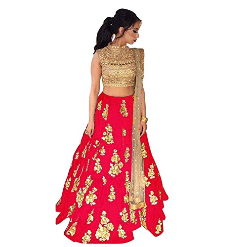 Dhruv Fab Woman\'s Velvet Red Colored Semi-stitched Lahenga Choli (RED-NEW-MS_Red Color_Free Size)