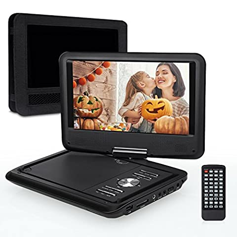 Pumpkin 9 Pouce Lecteur DVD Portable CD MP3 soutient USB SD avec Ecran Orientable 5 Heures Batterie Rechargeable Intégré 3m AC DC Adaptateur et Etui de Montage Appuie-tête Garantie de 18 mois
