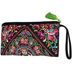 Bolso de las mujeres, señora bolso monedero mujer hecho a mano nación Retro bordado bolsa carteras Zip pulseras étnicas estilo bordado bolso de embrague moda exquisito bordado cartera satén bordada em