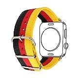 Bandmax Armband für Apple Watch, Nylon Gewebe Denimstoff Ersatzarmband Fashion Schwarz-Rot-Gold Bundesflagge Deutschlands Design mit Gürtelschnalle Uhrenarmband für 42MM Apple Watch Series 3/2/1